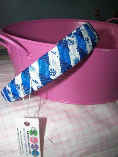 B14- Blue and White Snowflake Woven Headband