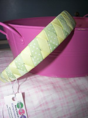 B17- Yellow and Grenn Polkadot Woven Headband