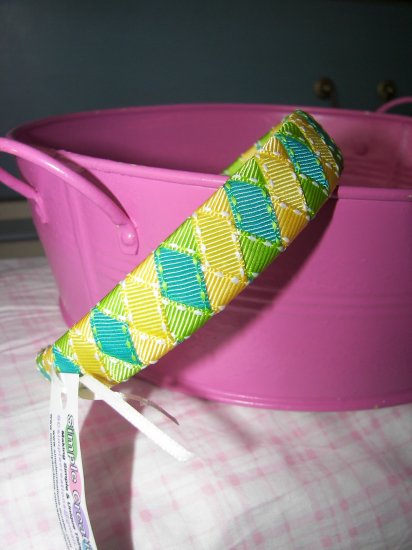 A28- Yellow, Lime Green and Teal Woven Headband