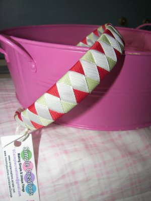 A26- Red/Green/White Christmas Woven Headband