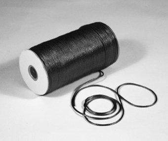 "1/8"" Black Satin Rat Tail Cord - 200 yds"