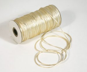 "1/8"" Ivory-Gold Satin Rat Tail Cord - 200 yds"