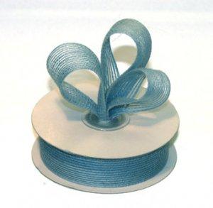 """7/8"""" Light Blue Jute Burlap Ribbon - 10 yds"""