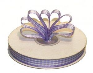 """3/8"""" White-Lavender Polyester Satin Gingham Ribbon - 25 yds"""