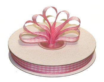 """3/8"""" White-Pink Polyester Satin Gingham Ribbon - 25 yds"""