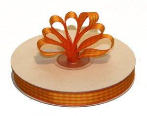 """3/8"""" Yellow-Orange Polyester Satin Gingham Ribbon - 25 yds"""
