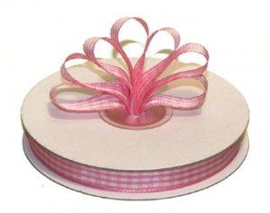 """1-1/2"""" White-Pink Polyester Satin Gingham Ribbon - 10 yds"""