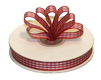 "1-1/2"" White-Red Polyester Satin Gingham Ribbon - 10 yds"