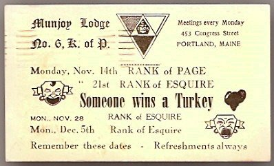 1960 MUNJOY LODGE 6 K of P PORTLAND MAINE INVITATION POSTCARD KNIGHTS OF PYTHIAS 648