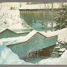 WINTER SCENE COVERED BRIDGE WATERVILLE VERMONT LAMOILLE RIVER ca 1960 POSTCARD