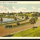 BAXTER BOULEVARD PORTLAND MAINE 1941 LINEN POSTCARD