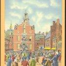COLONIAL TIMES STATE HOUSE BOSTON MA 1930/45 LINEN MASS POSTCARD