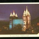 1950s THE GREAT MORMON TEMPLE AT NIGHT UTAH POSTCARD