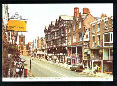 CHESTER BRIDGE STREET CHURCH OF ST PETER 1960s UK ENGLAND UNITED KINGDOM POSTCARD