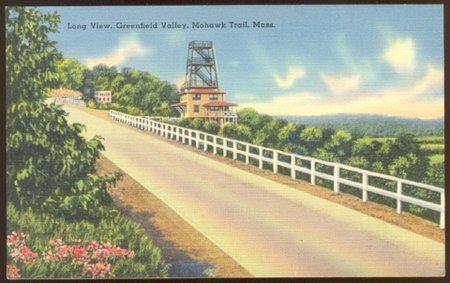 LONG VIEW GREENFIELD VALLEY MA MOHAWK TRAIL LINEN POSTCARD