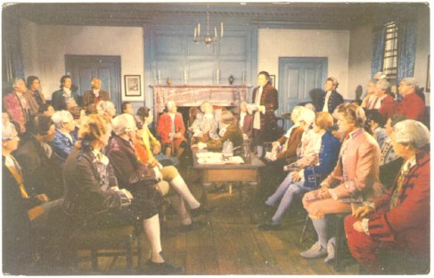 VIRGINIA BURGESSES MEET AT RALEIGH TAVERN WILLIAMSBURG POSTCARD 575