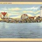 BOSTON LIGHT HOUSE BOSTON HARBOR LIGHTHOUSE ca 1940 POSTCARD