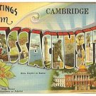 GREETINGS FROM MASSACHUSETTS 1930/45 LINEN POSTCARD