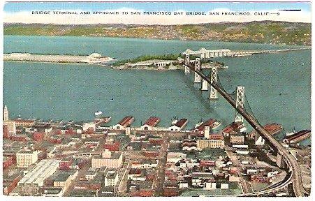 1940s BRIDGE TERMINAL & APPROACH TO SAN FRANCISCO BAY BRIDGE POSTCARD
