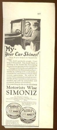 ORIGINAL 1923 SIMONIZ WAX AD