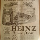 LARGE ORIGINAL 1923 HEINZ MINCE MEAT + SHEETROCK AD