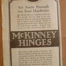 ORIGINAL 1923 McKINNEY HINGES AD PITTSBURGH PA PENNSYLVANIA