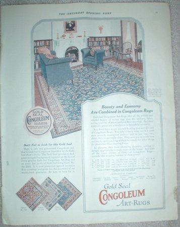 LARGE ORIGINAL 1923 GOLD SEAL CONGOLEUM ART RUG AD