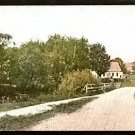 LOVELY SCENIC VIEW FARMHOUSE COUNTRY ROAD BRIDGE ca 1910 POST CARD