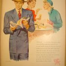 1949 HART SCHAFFNER & MARX CLOTHING + RONSON LIGHTER AND PEN AD WITH WOMAN SMOKING