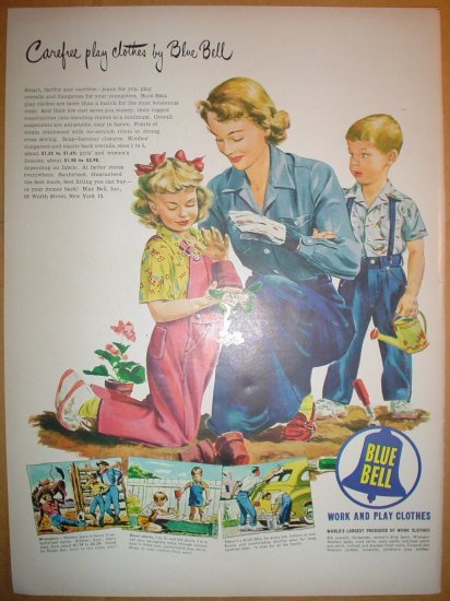 1949 FULL PAGE ADS LOVELY COLORFUL BLUE BELL WORK & PLAY CLOTHES + PUERTO RICAN RUM