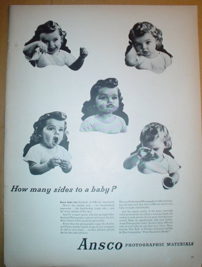 1949 FULL PAGE AD ANSCO PHOTOGRAPHIC MATERIAL + COLE OF CALIFORNIA SWIM WEAR