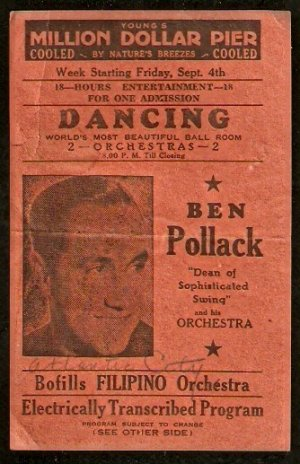 1930s AD FLYER YOUNGS MILLION DOLLAR PIER BEN POLLACK ORCHESTRA +