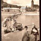 1955 PHOTO POSTCARD WW2 SOVIET CONVOY CROSSING PONTOON BRIDGE ON THE DANUBE IN BRATISLAVA