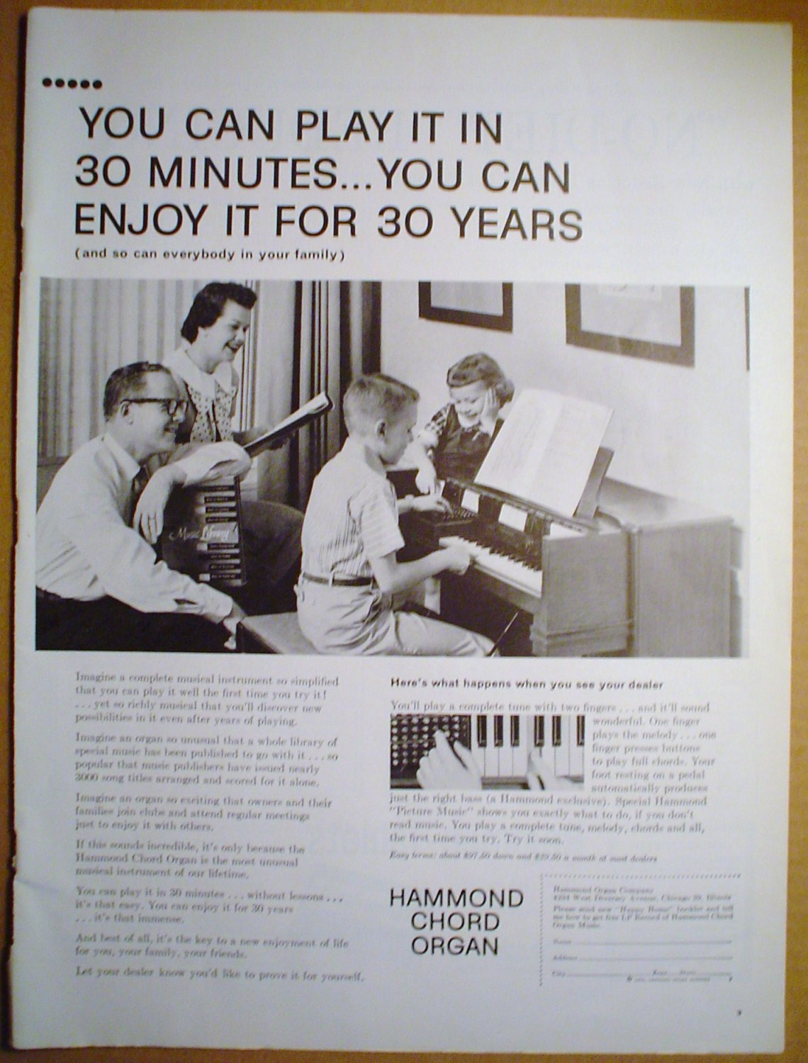 1958 FULL PAGE AD HAMMOND CHORD ORGAN YOU CAN PLAY IT IN 30 MINUTES + REGIMEN-TABLETS NO-DIET