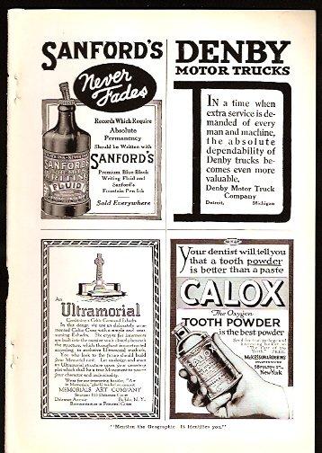 1918 ADS SANFORDS INK CALOX TOOTH POWDER ++