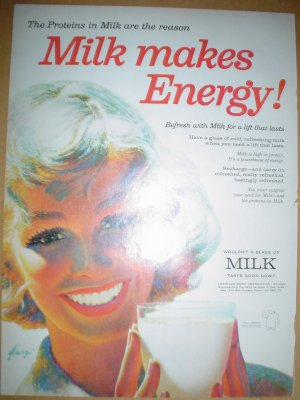 1958 COLORFUL FULL PAGE AD MILK MAKES ENERGY