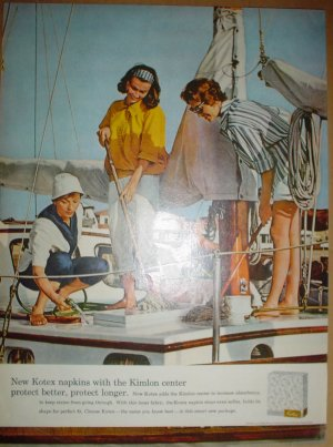 1958 FULL PAGE AD KOTEX NAPKINS WITH 3 LADIES ON YACHT