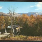 Ca 1960 LOVELY AUTUMN FOLIAGE COVERED BRIDGE MOUNT MANSFIELD LAMOILLE COUNTY VERMONT