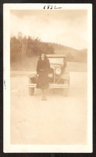 1932 LOVELY LADY LONG COAT IN FRONT OF VINTAGE AUTO DIRT ROAD ROLLING HILLS