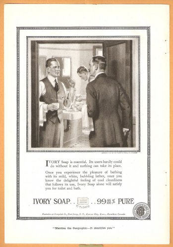 1918 IVORY SOAP AD 2 GENTLEMEN IN WASHROOM & VALET