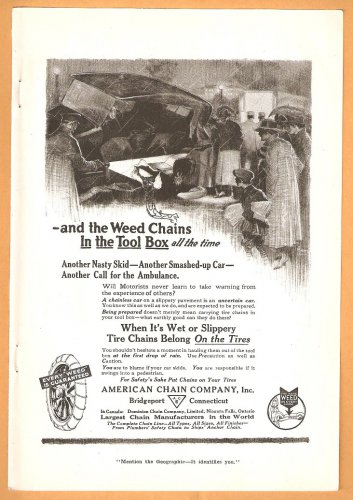 1918 AD WEED TIRE CHAINS AMERICAN CHAIN BRIDGEPORT CT AUTO ACCIDENT & ONLOOKERS