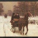 WINTER SLEIGH RIDE BY RICHARD LORENZ YANKEE MAGAZINE AD CARD 902