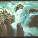MAN & WOMAN ADMIRING SUNWAPTA FALLS ICEFIELDS HIGHWAY CANADIAN ROCKIES 936