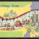 Greetings From Massachusetts Large Letter Linen 977