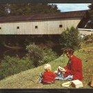 Covered Bridge Hammond Bridge Pittsford Vermont Mother & Child Enjoying a Picnic 981