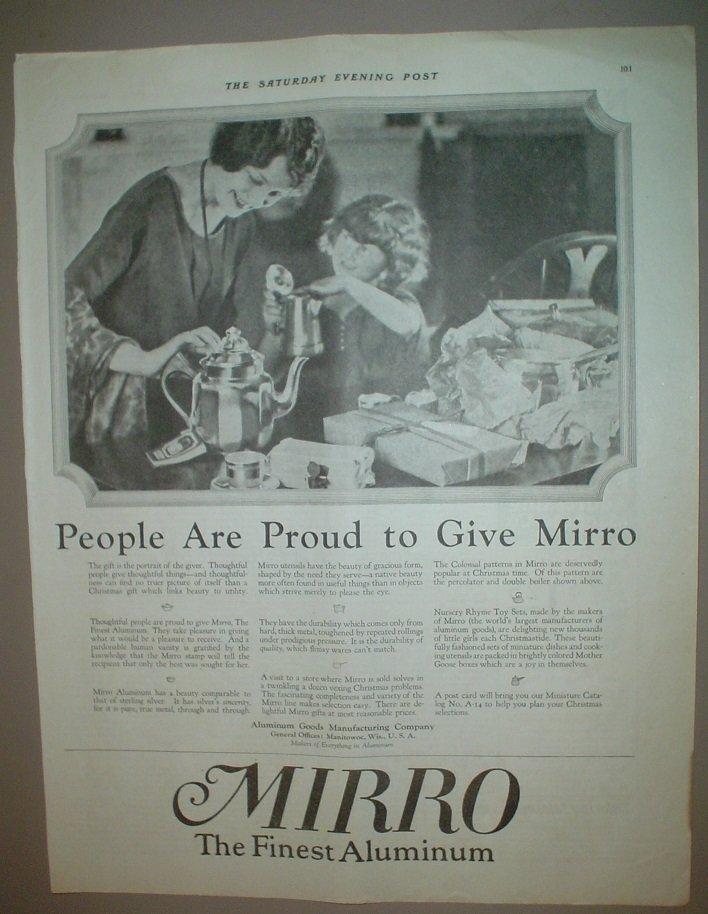 LARGE ORIGINAL 1923 MIRRO ALUMINUM COOKWARE AD