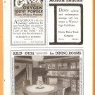 1918 AD RED GUM WOOD MEMPHIS TN CALOX TOOTH POWDER ACOUSTICON HEARING AID GLADIOLI