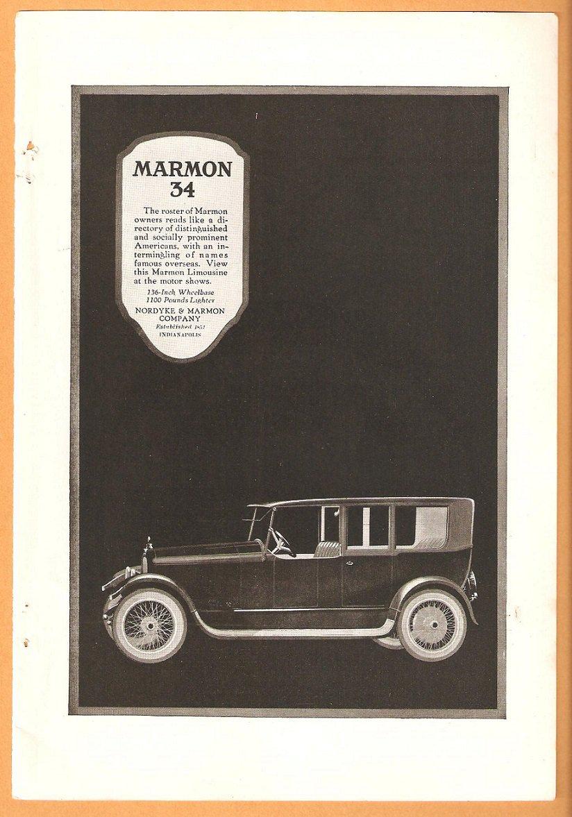 Original 1918 Marmon 34 motor car + Barre Granite full pg Geographic Ads