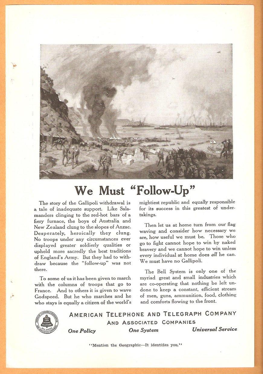 ORIGINAL 1918 AT&T WORLD WAR 1 GEOGRAPHIC AD MENTIONING GALLIPOLI