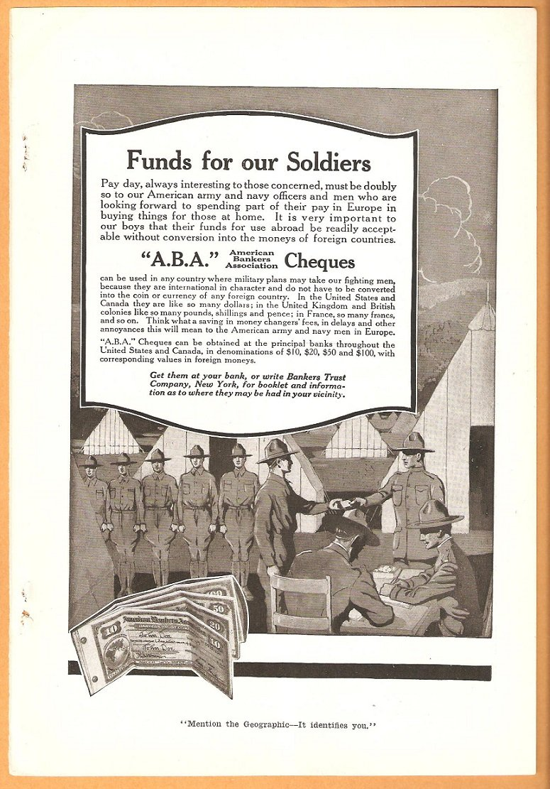 ORIGINAL 1918 WORLD WAR 1 ABA CHEQUES AD WITH DOUGHBOYS + LWF BIPLANE PHOTO